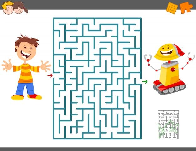 Gioco del labirinto per bambini con boy e il suo robot giocattolo Vettore Premium