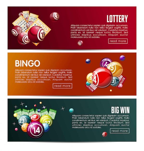 Gioco del lotto online della lotteria di bingo Vettore Premium