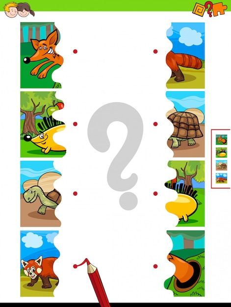Gioco di abbinamento puzzle di animali Vettore Premium