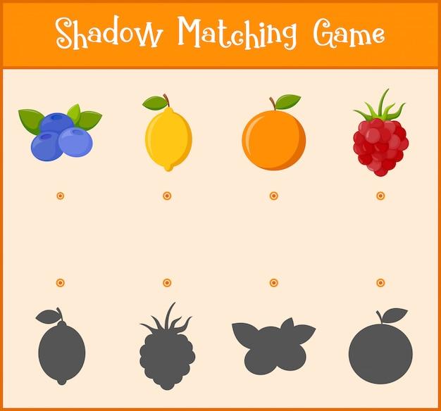 Gioco di apprendimento per bambini, gioco di abbinamento ombra Vettore Premium