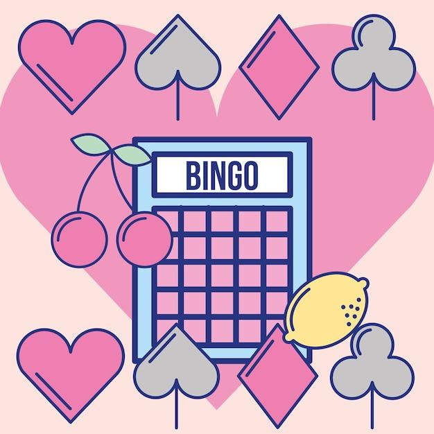 Gioco di bingo del casinò gioco di immagine di svago di fortuna Vettore Premium