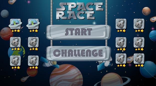 Gioco di corse spaziali sullo sfondo Vettore gratuito