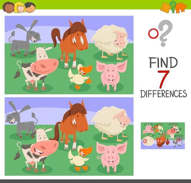 Gioco di differenze con personaggi animali Vettore Premium