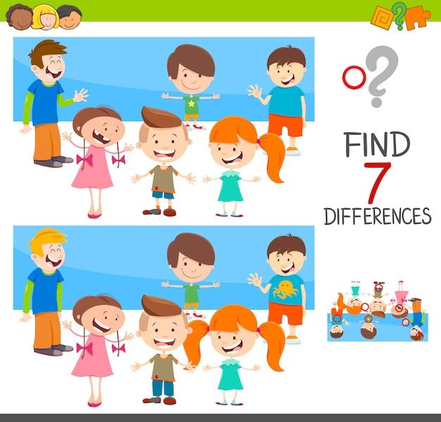 Gioco di differenze con personaggi bambini Vettore Premium