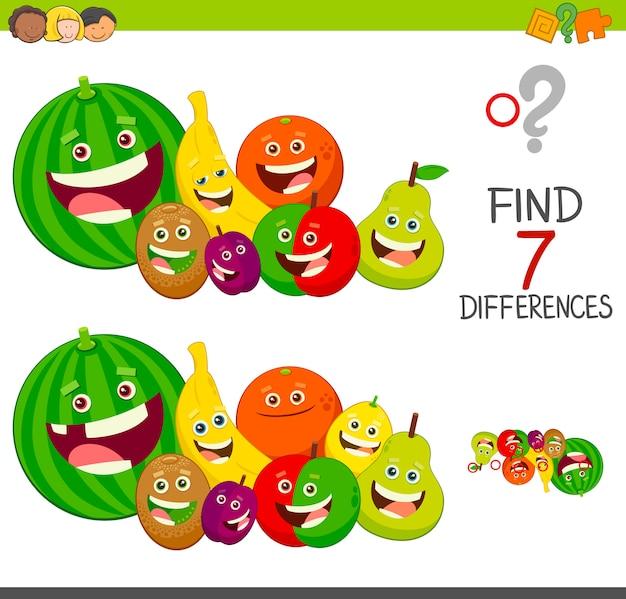Gioco di differenze con personaggi di frutta Vettore Premium