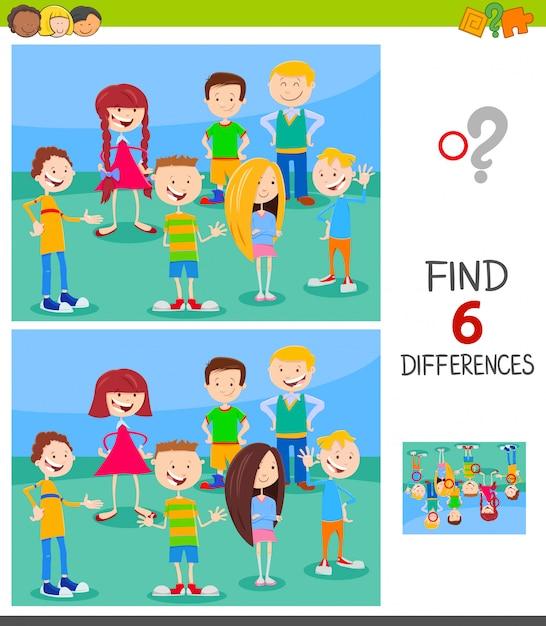 Gioco di differenze per bambini con personaggi divertenti Vettore Premium
