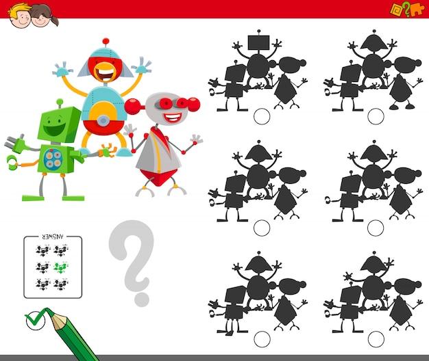 Gioco di ombre con personaggi robot Vettore Premium