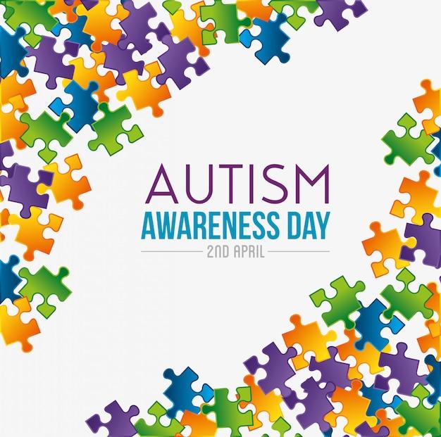 Gioco di puzzle al giorno dell'autismo Vettore gratuito