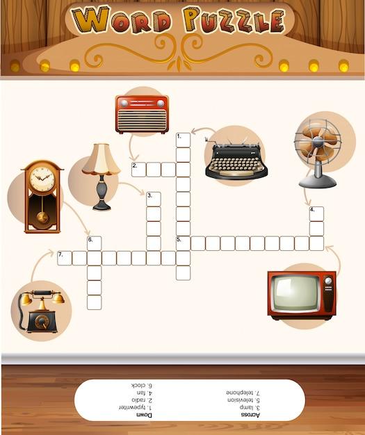 Gioco di puzzle di parole con oggetti vintage Vettore gratuito
