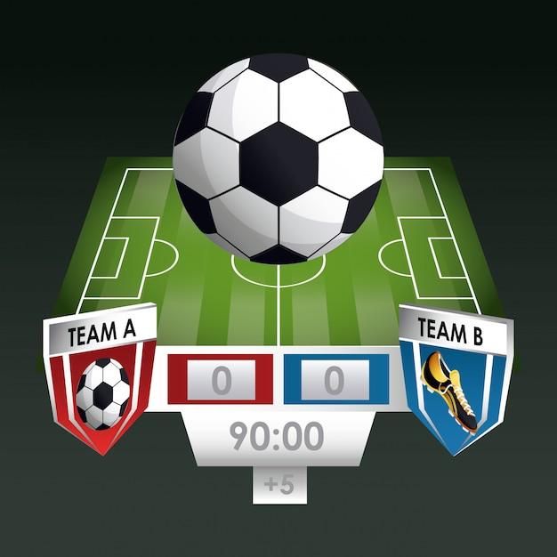 Gioco di sport di calcio Vettore Premium