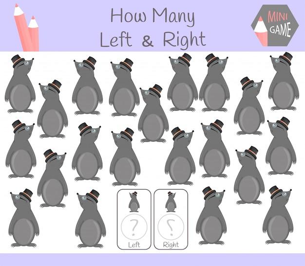 Gioco educativo di conteggio di immagini orientate a destra e a sinistra per i bambini con talpa Vettore Premium