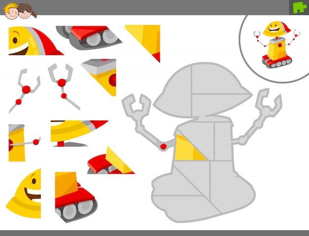 Gioco educativo jigsaw puzzle per bambini con robot Vettore Premium