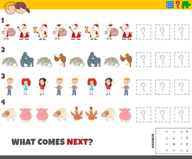 Gioco educativo per bambini con personaggi dei cartoni animati Vettore Premium