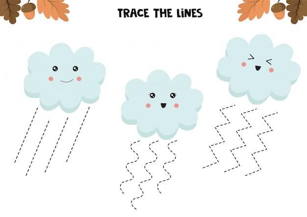 Gioco educativo per bambini. foglio di lavoro prescolare. traccia le linee. nuvole carine. pratica della scrittura a mano. Vettore Premium