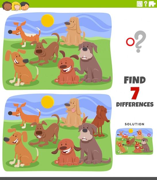 Gioco educativo sulle differenze con il gruppo di cani Vettore Premium