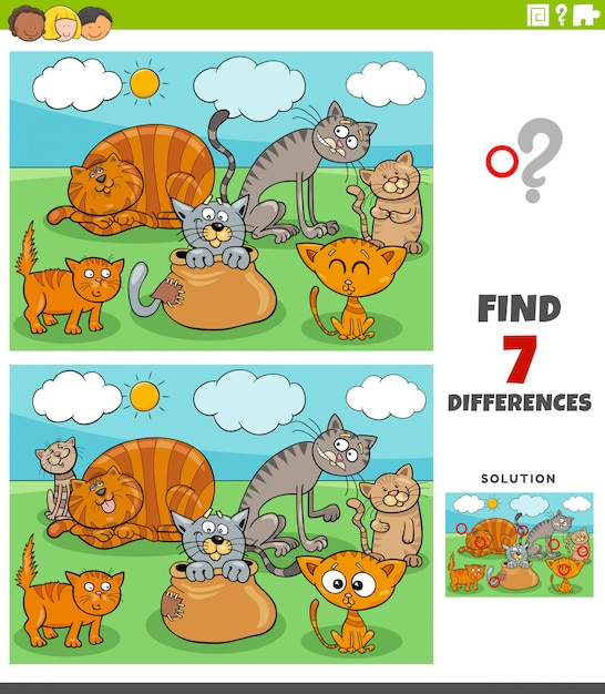 Gioco educativo sulle differenze con il gruppo di gatti Vettore Premium