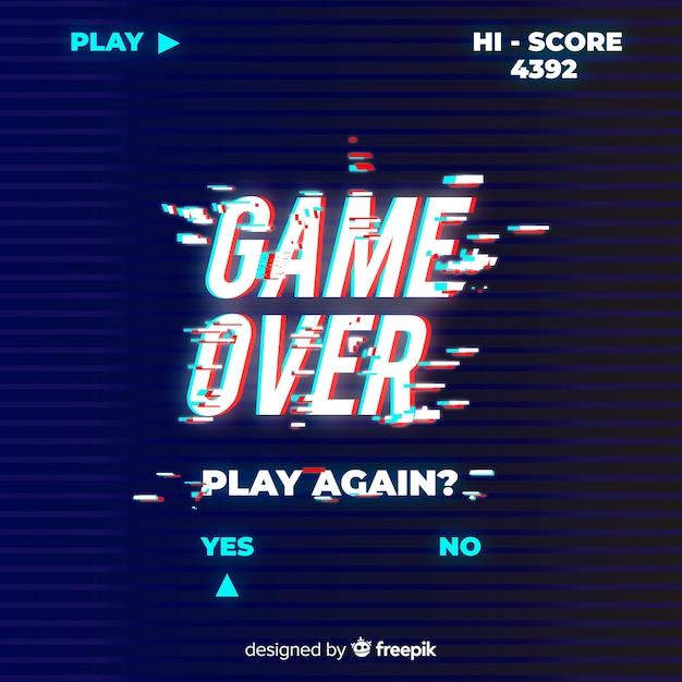 Gioco glitch su sfondo Vettore gratuito