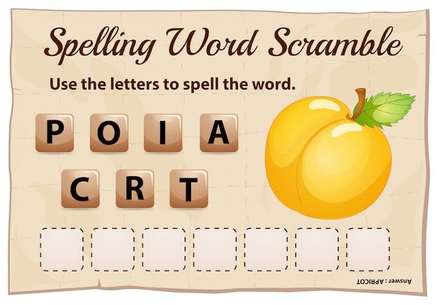 Gioco ortografico di parole strapazzate con albicocca Vettore gratuito