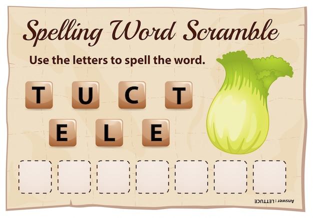 Gioco ortografico di parole strapazzate con lattuga di parola Vettore gratuito