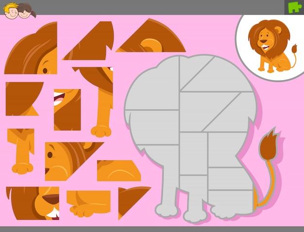 Gioco puzzle con animale leone dei cartoni animati Vettore Premium
