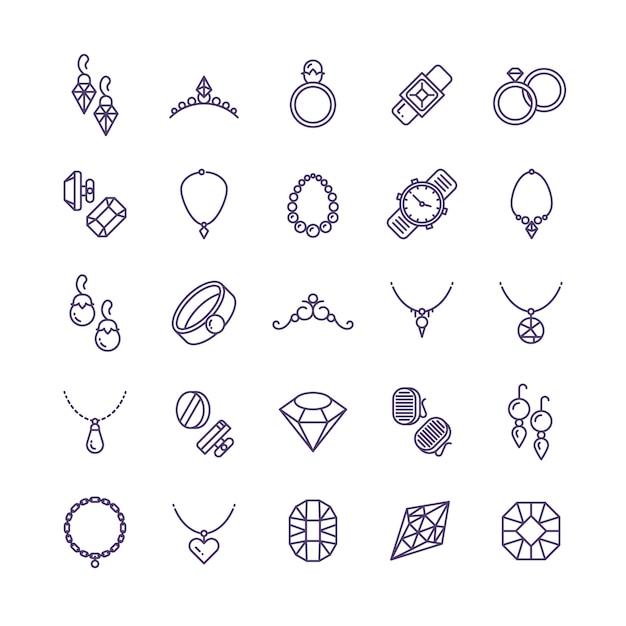 Gioielli d'oro costosi con icone di linea di diamanti e simboli di accessori da sposa Vettore Premium