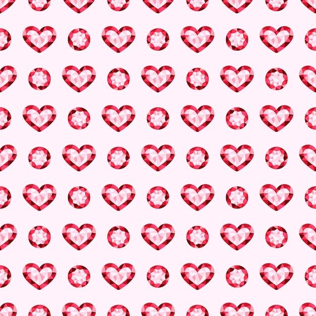 Gioielli rosa gemme vettoriali seamless pattern Vettore Premium