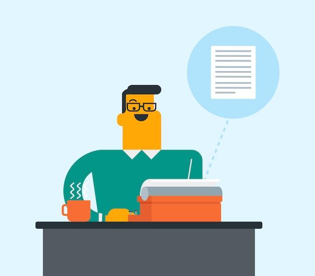 Giornalista bianco caucasico che scrive sulla macchina da scrivere. Vettore Premium