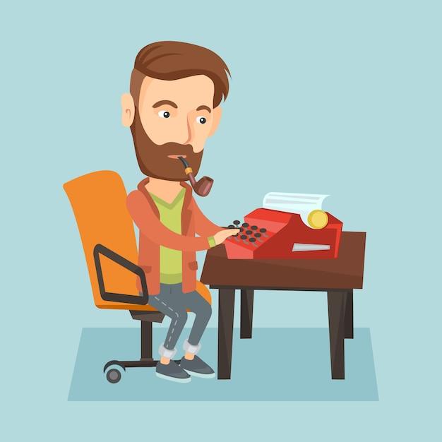 Giornalista che lavora alla macchina da scrivere retrò. Vettore Premium