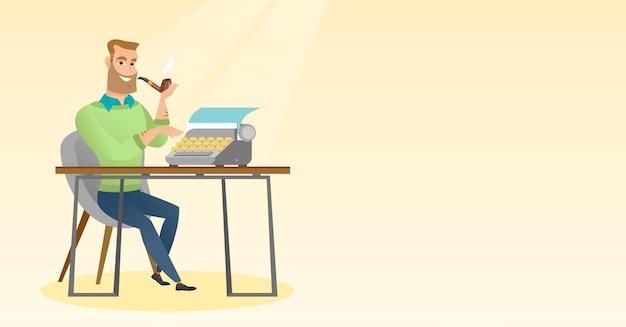 Giornalista che lavora alla retro macchina da scrivere. Vettore Premium