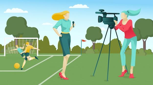 Giornalista e operatore che trasmettono partite di calcio Vettore Premium