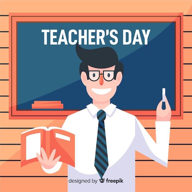 Giornata degli insegnanti del mondo piatto con insegnante felice Vettore gratuito