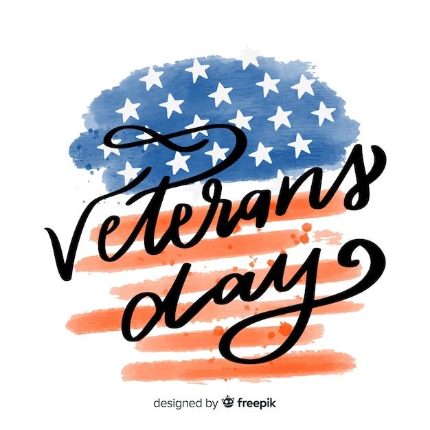 Giornata dei veterani con bandiera dell'acquerello Vettore gratuito