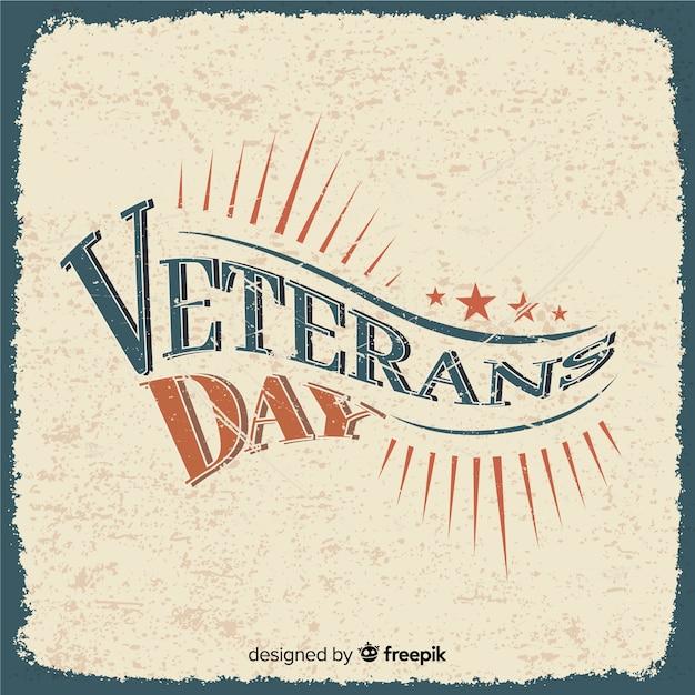 Giornata dei veterani retrò lettering Vettore gratuito