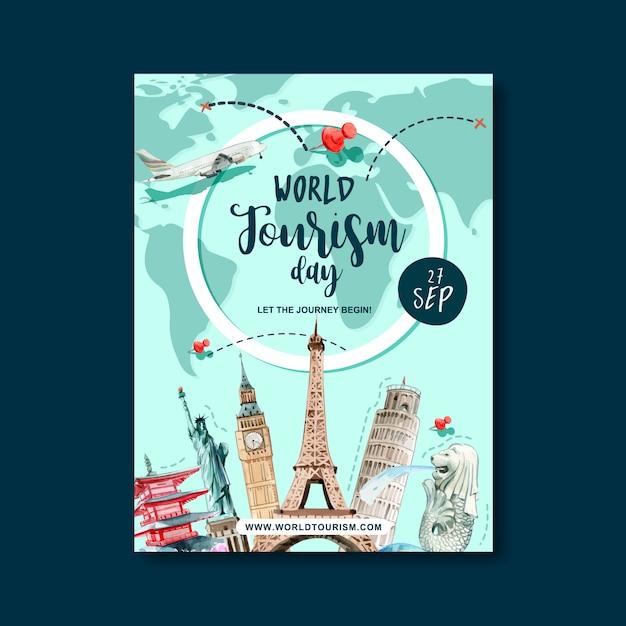 Giornata del turismo design del poster con rotta di volo, itinerario, mondo, piano Vettore gratuito