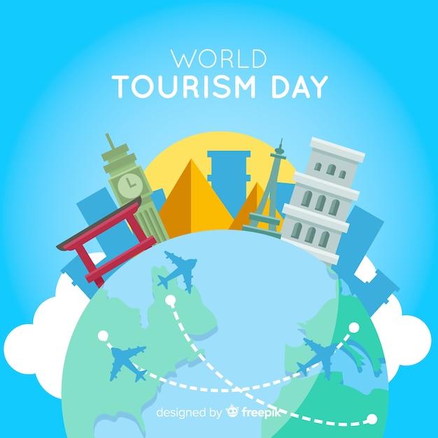 Giornata del turismo design piatto con punti di riferimento Vettore gratuito