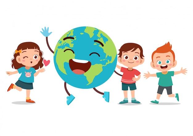 Giornata della terra per bambini Vettore Premium