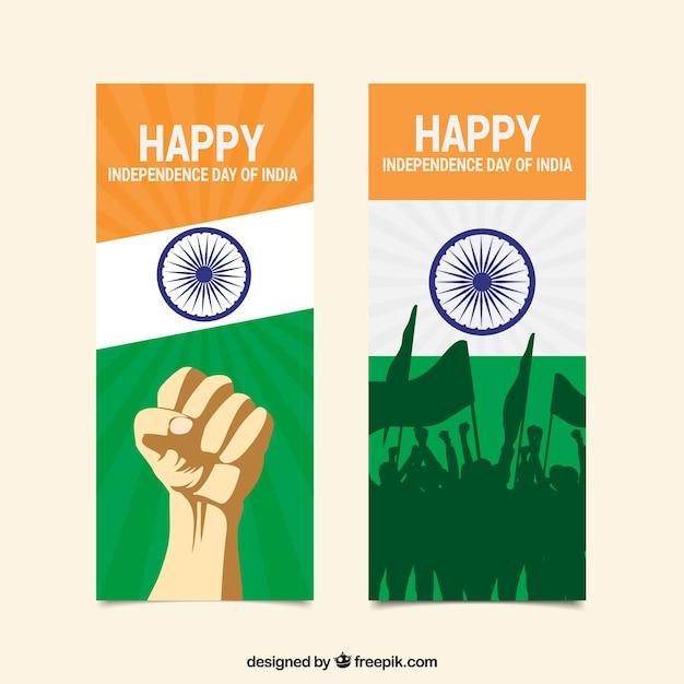 Giornata di indipendenza felice di bandiere indiane Vettore gratuito
