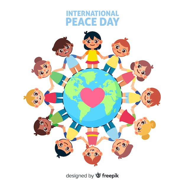 Giornata di pace piatta con i bambini Vettore gratuito