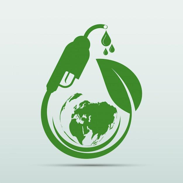 Giornata internazionale del biodiesel per l'ecologia e l'ambiente aiuta il mondo con idee ecologiche Vettore Premium