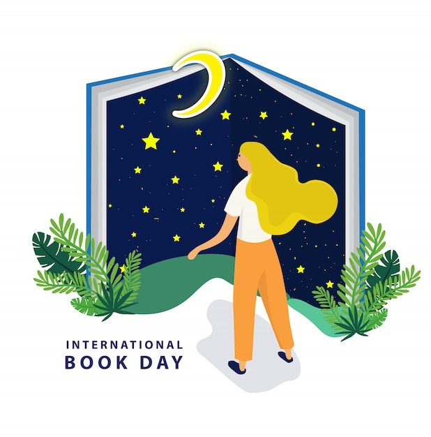 Giornata internazionale del libro con un grande libro notturno Vettore Premium
