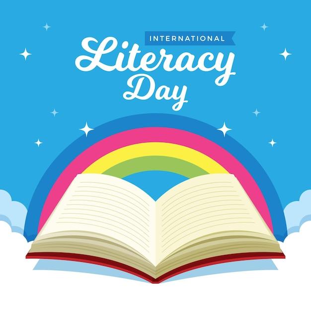 Giornata internazionale dell'alfabetizzazione con arcobaleno e libro aperto Vettore gratuito