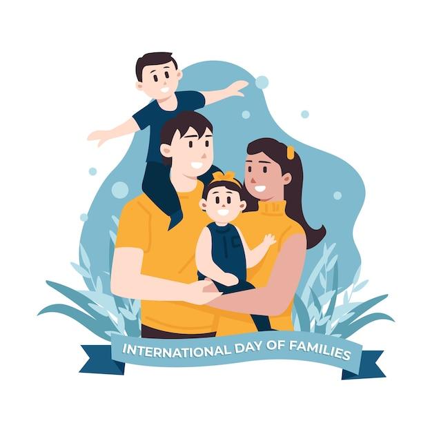 Giornata internazionale dell'illustrazione delle famiglie Vettore gratuito