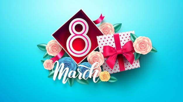 Giornata internazionale della donna con numero 8 all'interno della confezione regalo. 8 marzo modello per la festa della donna Vettore Premium