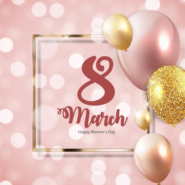 Giornata internazionale della donna felice 8 marzo biglietto di auguri floreale Vettore Premium