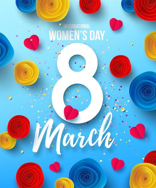 Giornata internazionale della donna felice, 8 marzo vacanze poster o banner con fiori di carta festa della mamma felice modello di progettazione alla moda per l'8 marzo. festa della donna Vettore Premium