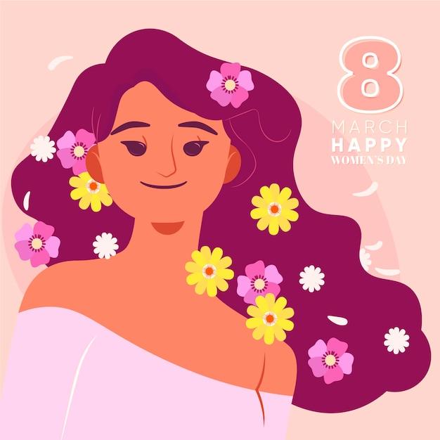 Giornata internazionale della donna floreale Vettore gratuito