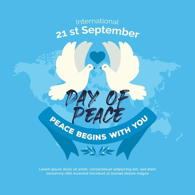 Giornata internazionale della pace con colombe e mappa del mondo Vettore gratuito