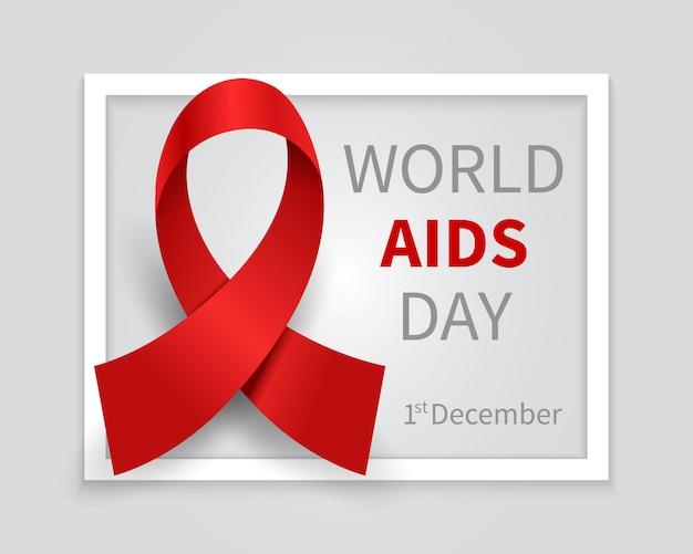 Giornata mondiale contro l'aids. hiv day nastro rosso vettore medicina sullo sfondo Vettore Premium