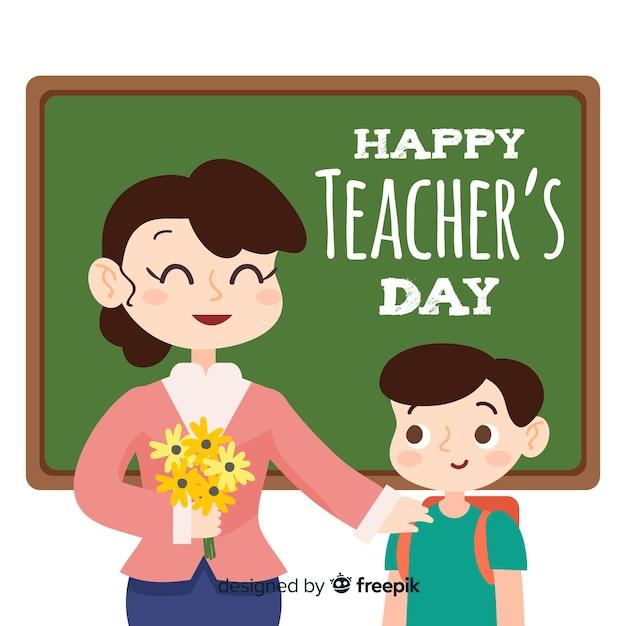 Giornata mondiale degli insegnanti di design piatto Vettore gratuito