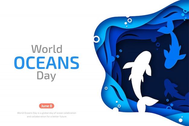 Giornata mondiale degli oceani. arte di carta delle onde e dei pesci del mare Vettore Premium